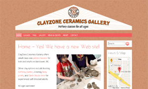 Clayzone ceramics gallery site screenshot